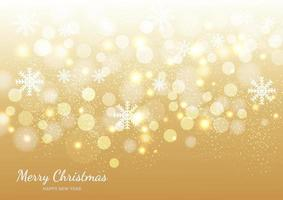 Christmas golden background of snowflakes and bokeh. vector