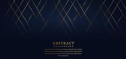 Abstract template stripe lines gold color on dark blue background. Luxury style. vector