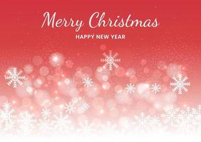 Christmas red background of snowflakes and bokeh. vector
