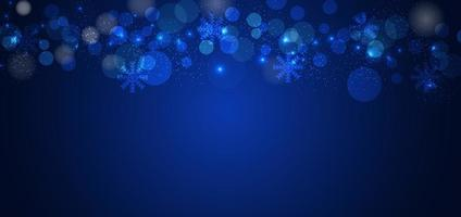 Banner merry chistmas snowflakes blue background design. vector