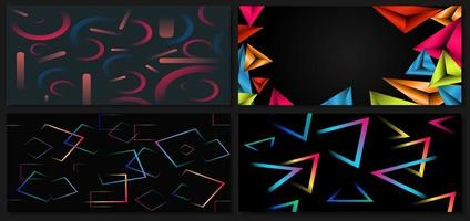 Set of abstract template colorful geometric vibrant on black background with space for your text. vector
