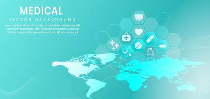 Patrón hexagonal azul abstracto y líneas de onda background.medical y concepto de ciencia y patrón de icono de atención médica. vector