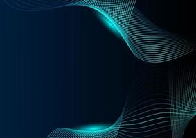 Abstract glowing wave green lines on dark background. Technology concept. vector
