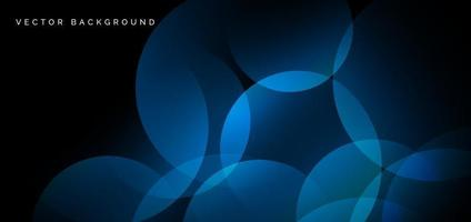 Abstract blue geometric circles overlapping on black background. Technology concept. vector
