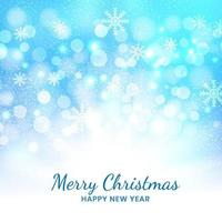 Christmas blue background of snowflakes and bokeh. vector