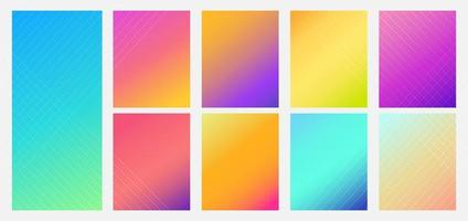 Set of color gradient vibrant background. Modern style. vector