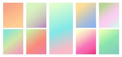 Set of pastel color gradient vibrant background. Modern style. vector