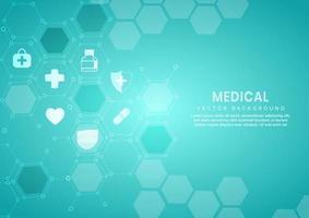 Fondo de patrón hexagonal azul abstracto concepto médico y científico y patrón de icono de atención médica. vector