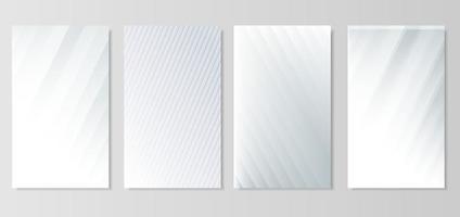 conjunto de líneas diagonales abstractas vector de fondo plateado claro. moderno fondo blanco y gris.