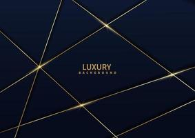 Abstract dark blue luxury background with golden line diagonal. vector