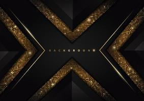 Abstract template triangles black geometric with golden line and glitter gold dot on black background. Luxury style. vector