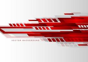 Abstract tech corporate red and grey geometric shape on white background. vector