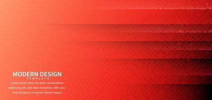 Abstract horizontal geometric red gradient background with halftone decoration. vector