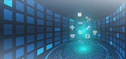 Fondo de patrón geométrico azul abstracto concepto médico y científico y patrón de icono de atención médica. vector