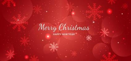 Banner merry chistmas snowflakes red background design. vector