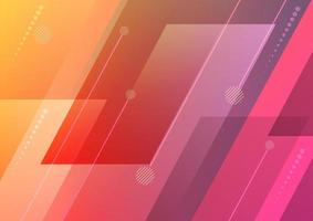 Abstract pink orange gradient diagonal geometric overlapping with line background. Modern concept. vector