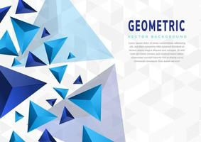 Abstract blue triangles geometric shape on white grey background with copy space. vector