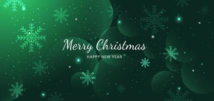 Banner merry chistmas snowflakes green background design. vector