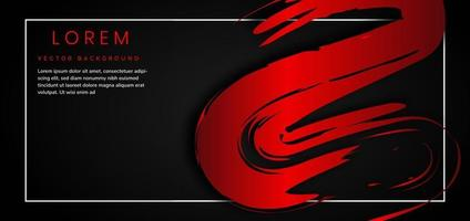 Template strokes red brush curve shape on black background with space for text. vector