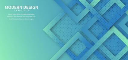 Abstract blue and green geometric square shape overlapping with dot decoration and shadow background. vector