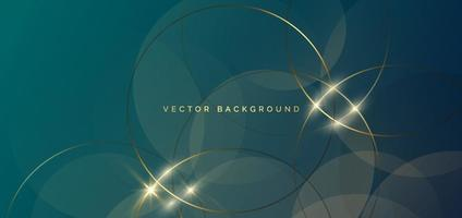Abstract gold circles lines overlapping on green background. Luxury concept. vector