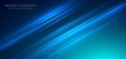 Technology futuristic background striped lines with light effect on blue background. Space for text. vector