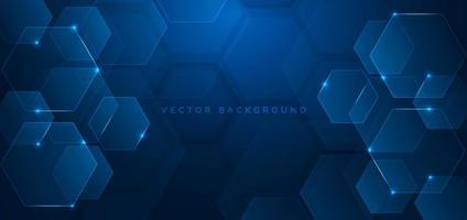 Abstract technology futuristic hexagon overlapping pattern with blue light effect on dark blue background.