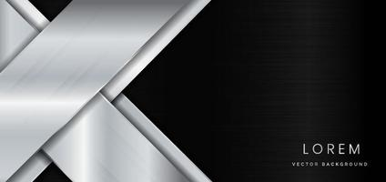 Abstract template geometric silver metal diagonal on metal black background with copy space for text. vector