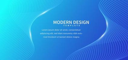 Banner modern wavy striped lines on blue background. vector