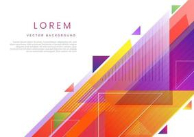 Abstract triangles colorful vibrant geometric on white background. Modern design style with space for text. vector