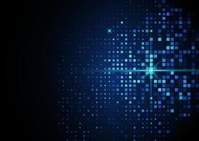 tecnología abstracta concepto digital futurista patrón cuadrado con elementos de puntos de partículas brillantes de iluminación sobre fondo azul oscuro. vector