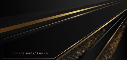 Plantilla abstracta oblicua geométrica negra con punto de brillo de decoración de capa de línea dorada sobre fondo oscuro. estilo de lujo. vector