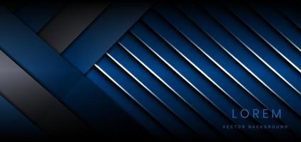 Fondo de líneas de rayas de color oscuro y azul abstracto capas superpuestas decoración fondo de efecto de luz blanca. concepto de tecnología. vector