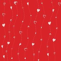White hearts on lines pattern on red background. vector
