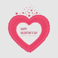 Valentine's day background. Abstract background. Hearts pink overlapping papaer cut card on white backgroungd. vector