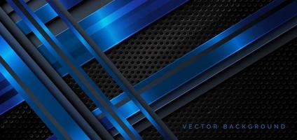 Template diagonal lines blue and dark overlapping layers on black metal background. vector