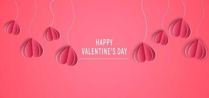 Valentine's day background. Valentine's Day greeting card design. Hearts paper cut style. vector