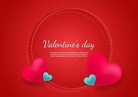 fondo del día de san valentín. corazones de color rosa y azul sobre fondo rojo con espacio para texto. vector