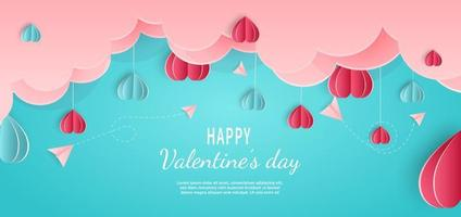 Valentine's day background. Hearts pink and blue paper cut card on blue background. Decor clouds and plane with space for text. vector