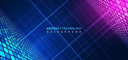 Abstract blue stripe glowing lines background with decoration square pattern. vector