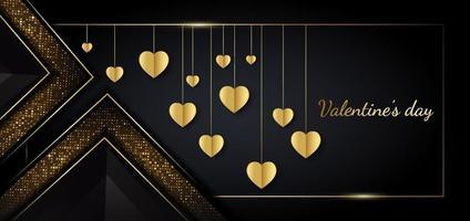 Valentine's day background. Heart golden  in frame on black background. Luxury style. vector