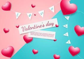fondo del día de san valentín. Corazones tarjeta roja sobre fondo rosa y azul con espacio para texto. vector