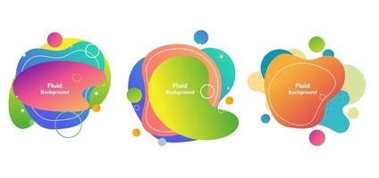 Set of modern abstract vector banner backgroud. Fluid shapes colorful badges graphic elements on white background.