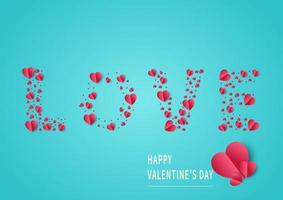 Valentine's day background. Abstract background. Hearts red paper cut card on light blue backgroungd. Design for valentine's day festival. vector