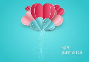Valentine's day background. Abstract background. Balloons hearts pink and blue paper cut card on light blue backgroungd. Design for valentine's day festival. vector