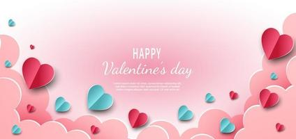 Valentine's day background. Hearts pink and blue paper cut card on light pink background. Decor clouds space for text. vector