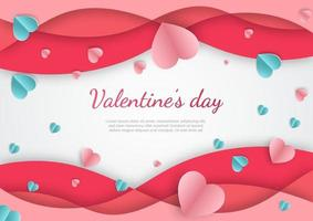 Valentine's day background. Hearts pink and blue paper cut card on white background. vector