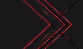 Dirección metálica de la flecha de neón de la línea de luz roja abstracta en gris oscuro con el ejemplo del vector del fondo de la tecnología futurista moderna del diseño del espacio en blanco.