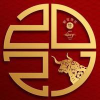 diseño de plantilla de feliz año nuevo chino 2021 año del buey vector
