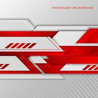 Abstract tech corporate red and white geometric shape background.